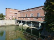 Stadselektrische centrale op de rivier Oder in Wroclaw stock foto
