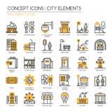 Stadselementen, Pixel Perfecte Pictogrammen stock illustratie