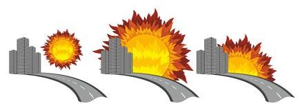 Stadsembleem met de zon Stock Afbeeldingen