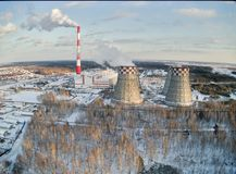 Stadsenergi och varm kraftverk Tyumen Ryssland Royaltyfri Foto