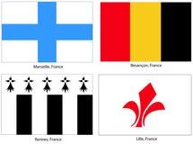 stadsflaggafrance set Royaltyfria Foton