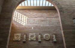 Stadsforumportik på medborgaren Roman Art Museum i Merida, Spanien Royaltyfri Foto