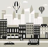 Stadsgata i svartvitt Arkivbild