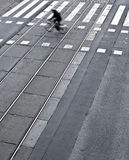 Stadsgata med en crossing Royaltyfri Foto