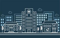 Stadsgata med ett sjukhus, ett apotek och en skola på bakgrunden av bostads- byggnader I en linjär stil vektor Arkivbild