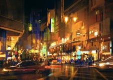 Stadsgata på natten med färgrika ljus som målar royaltyfri fotografi