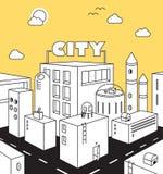 Stadsgatabegrepp med byggnader, vägar, himmel Stad landskap, Royaltyfria Foton