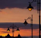Stadsgatalampor royaltyfria foton