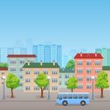 Stadsgatan med bussen stock illustrationer