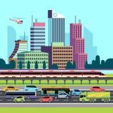 Stadsgatapanorama Gata med bilar och hus för stads- transport Stads- cityscapeskyskrapor och trafikbakgrund stock illustrationer