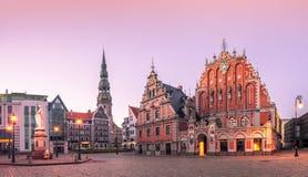 StadsHall Square Riga gammal stad, Lettland Arkivbild