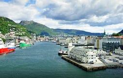 Stadshamn av Bergen (Norge) Fotografering för Bildbyråer