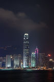stadsHong Kong nightview Arkivbild