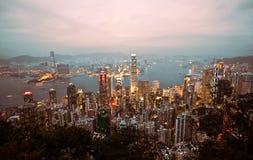 stadsHong Kong panorama- horisont Royaltyfri Fotografi
