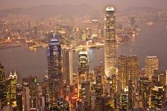 stadsHong Kong panorama- horisont Royaltyfri Bild