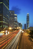 stadsHong Kong solnedgång royaltyfri bild