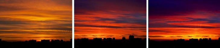 Stadshorisont över den brännheta skyen Arkivfoton