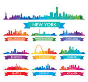 Stadshorisont av Amerika den färgrika illustrationen vektor illustrationer