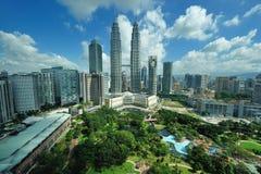 Stadshorisont av Kuala Lumpur, Malaysia. Fotografering för Bildbyråer