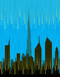 Stadshorisont med digitalt regn Arkivbilder