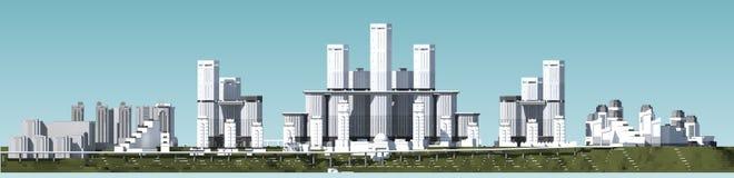 Stadshorisont med skyskrapor Arkivfoto