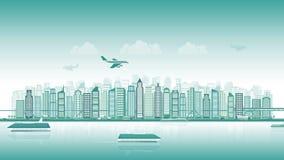 Stadshorisont med trafik av det olika skeppet för bil för flygplan för medeldrev i plan stil, cityscape, sömlös ögla lager videofilmer
