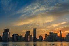 Stadshorisont Sharja UAE Royaltyfri Fotografi