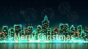 Stadshorisontkontur med livliga fönster som är upplysta i form av glad jul för en inskrift, bakgrund med fyrverkerit stock video