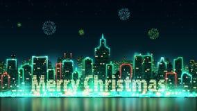 Stadshorisontkontur med livliga fönster som är upplysta i form av glad jul för en inskrift, bakgrund med fyrverkerit arkivfilmer
