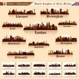 Stadshorisontuppsättning. 10 städer av Storbritannien #1 vektor illustrationer
