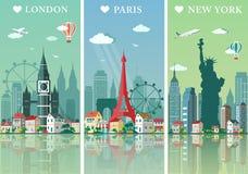 Stadshorisontuppsättning Lägenheten landskap vektorillustrationen London, Paris och New York stadshorisonter planlägger med gräns Royaltyfri Bild
