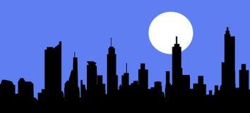 Stadshorizon bij Nacht - Vector Royalty-vrije Illustratie