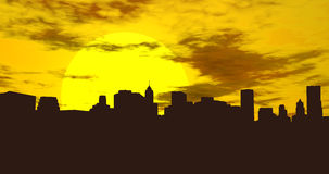 Stadshorizon bij Zonsondergang Royalty-vrije Stock Fotografie