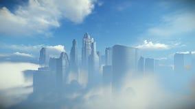 Stadshorizon boven wolken, gezoem binnen vector illustratie