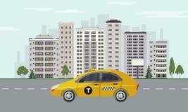 Stadshorizon met gele taxiauto op weg op cityscape achtergrond met wolkenkrabbers vector illustratie