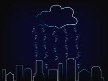 Stadshorizon met regen van ideeën boven het vector illustratie