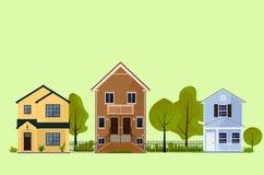 Stadshuizen en groen bomen vooraanzicht vector illustratie