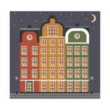 Stadshuizen in oude 's nachts stijl Royalty-vrije Stock Afbeelding