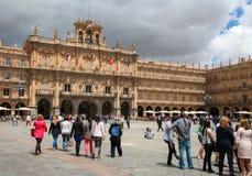 Stadshus av Salamanca, Spanien Fotografering för Bildbyråer