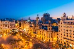 Stadshus av Valencia Spain på skymning Royaltyfri Fotografi