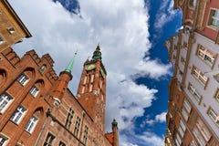 Stadshus i den gammala townen av Gdansk Arkivfoto