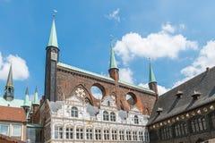 Stadshus i Luebeck, Tyskland Arkivbilder