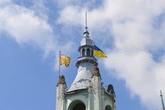 Stadshus i Mukachevo, Ukraina på Augusti 14, 2016 royaltyfria foton