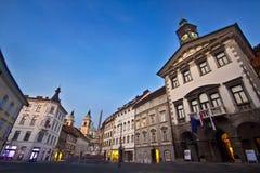 stadshus ljubljana s Royaltyfri Bild