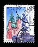 Stadshus Neptunspringbrunn, Gdansk, polsk stadsgränsmärkeserie Arkivbild
