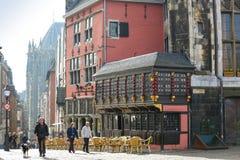 Stadshus och domkyrka i det Akwizgran/Aachen centret Royaltyfria Bilder