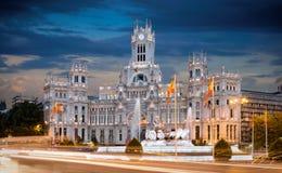 Stadshus på Plaza de Cibeles i Madrid Arkivfoton