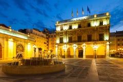 Stadshus på Castellon de la Plana i natt Royaltyfria Foton
