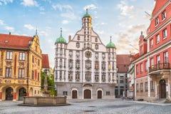Stadshus Rathaus i Memmingen, Tyskland Arkivfoto