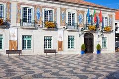 Stadshus som dekoreras med portugisiska tegelplattor för azulejos arkivfoto